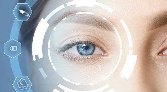 Young woman with iris scanning, closeup